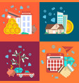 financial investment banner set in flat design vector image