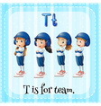 Flashcard letter T is for team vector image