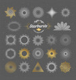 Set of handmade sunburst design elements vector image
