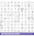 100 web design icons set outline style vector image