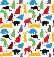 Seamless with colorful cats silhouettes background vector image vector image