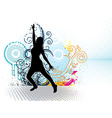 Dancing girl with floral ornaments vector image
