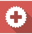 Health Care Stamp Flat Square Icon with Long vector image