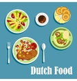 National dutch cuisine dishes and desserts vector image