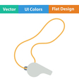 Flat design icon of whistle on lace vector image