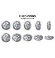 money euro 3d silver coins set realistic vector image