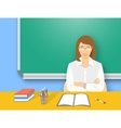 School teacher woman at the desk flat education vector image