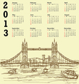 tower bridge vintage calendar 2013 vector image vector image