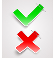 Check mark and cross paper signs vector image