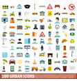 100 urban icons set flat style vector image
