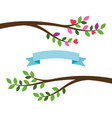 cartoon tree branches and blue ribbon vector image