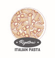 sticker with hand drawn pasta rigatoni vector image