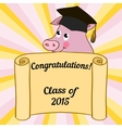 Greeting card with a character pig vector image vector image
