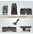 Leeuwarden landmarks and monuments vector image