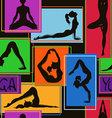 Seamless pattern of yoga poses vector image