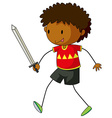 Boy playing with sword vector image
