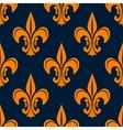 Orange vintage fleur-de-lis seamless pattern vector image