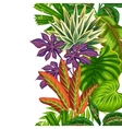 Seamless vertical border with tropical plants and vector image