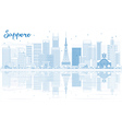 Outline Sapporo Skyline with Blue Buildings vector image