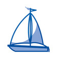 blue shading silhouette of sailboat icon vector image