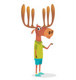 cartoon funny hipster elk moose vector image