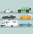 city auto vehicle isolated set vector image