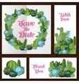 Cute succulents wedding invitation card vector image