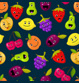 flat fruits with cute faces pattern or vector image