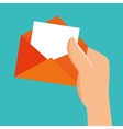 hand hold envelope message vector image