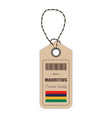 hang tag made in mauritius with flag icon isolated vector image