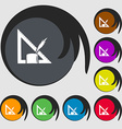 Pencil and ruler icon Symbols on eight colored vector image