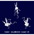 Cute and funny skeleton rabbit in different poses vector image