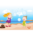 kids at beach vector image vector image