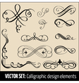 set of calligraphic design elements and pag vector image vector image