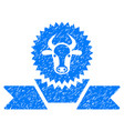 cattle award ribbon icon grunge watermark vector image