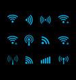 neon futuristic wireless and wifi icon vector image