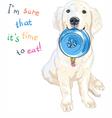 puppy dog Labrador Retriever with bowl for food vector image