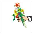 Hand With Bouquet vector image