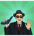 Mafioso with Gun Retro Mafia Man Pop Art vector image