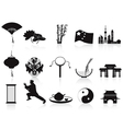 black chinese icons set vector image