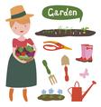 Girl gardnerer and garden set vector image