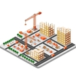 isometric construction building vector image
