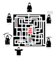 Labyrinth of life Life ends with death In any vector image