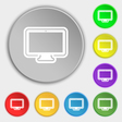 monitor icon sign Symbol on eight flat buttons vector image