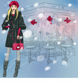 beautiful fashionable girl near the Parisian cafe vector image