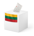 Ballot box with voting paper Lithuania vector image