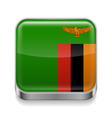 Metal icon of Zambia vector image