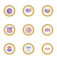 american independence day icons set cartoon style vector image