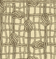 Seamless pattern of ropes grid with marine knotes vector image