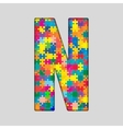 Color Puzzle Piece Jigsaw Letter - N vector image
